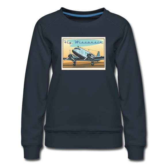 Fly Wisconsin - Women's Premium Sweatshirt - navy