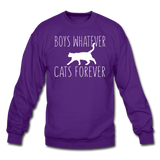 Boys Whatever, Cats Forever - White - Crewneck Sweatshirt - purple
