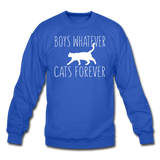 Boys Whatever, Cats Forever - White - Crewneck Sweatshirt - royal blue