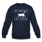 Boys Whatever, Cats Forever - White - Crewneck Sweatshirt - navy