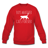Boys Whatever, Cats Forever - White - Crewneck Sweatshirt - red