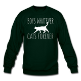 Boys Whatever, Cats Forever - White - Crewneck Sweatshirt - forest green
