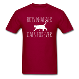Boys Whatever, Cats Forever - White - Unisex Classic T-Shirt - dark red