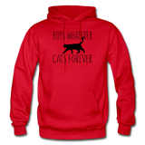Boys Whatever, Cats Forever - Black - Gildan Heavy Blend Adult Hoodie - red