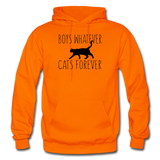 Boys Whatever, Cats Forever - Black - Gildan Heavy Blend Adult Hoodie - orange