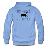 Boys Whatever, Cats Forever - Black - Gildan Heavy Blend Adult Hoodie - carolina blue