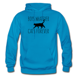 Boys Whatever, Cats Forever - Black - Gildan Heavy Blend Adult Hoodie - turquoise