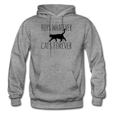Boys Whatever, Cats Forever - Black - Gildan Heavy Blend Adult Hoodie - graphite heather