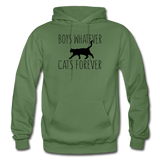 Boys Whatever, Cats Forever - Black - Gildan Heavy Blend Adult Hoodie - military green