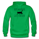 Boys Whatever, Cats Forever - Black - Gildan Heavy Blend Adult Hoodie - kelly green