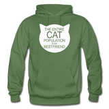Cats - My Best Friends - White - Gildan Heavy Blend Adult Hoodie - military green
