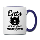 Cats Are Just Awesome - Black - Contrast Coffee Mug - white/cobalt blue
