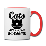 Cats Are Just Awesome - Black - Contrast Coffee Mug - white/red