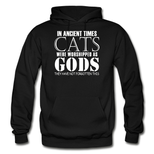 Cats As Gods - White - Gildan Heavy Blend Adult Hoodie - black