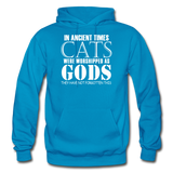 Cats As Gods - White - Gildan Heavy Blend Adult Hoodie - turquoise