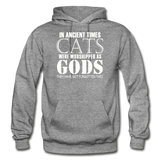 Cats As Gods - White - Gildan Heavy Blend Adult Hoodie - graphite heather
