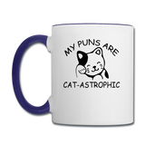 Cat Puns - Black - Contrast Coffee Mug - white/cobalt blue