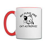 Cat Puns - Black - Contrast Coffee Mug - white/red