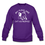 Cat Puns - White - Crewneck Sweatshirt - purple