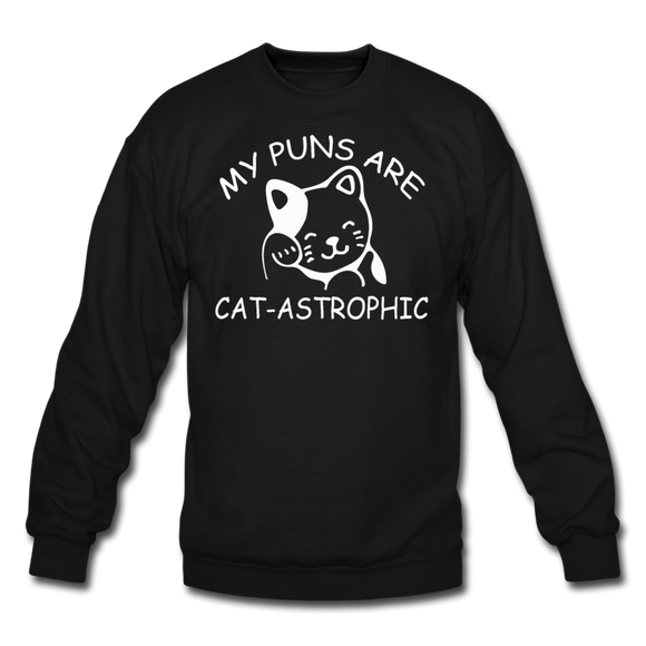 Cat Puns - White - Crewneck Sweatshirt - black