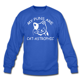 Cat Puns - White - Crewneck Sweatshirt - royal blue