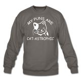 Cat Puns - White - Crewneck Sweatshirt - asphalt gray