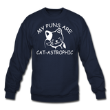 Cat Puns - White - Crewneck Sweatshirt - navy