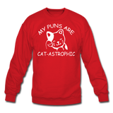 Cat Puns - White - Crewneck Sweatshirt - red