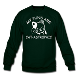 Cat Puns - White - Crewneck Sweatshirt - forest green