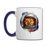 Cosmic Kitty - Contrast Coffee Mug - white/cobalt blue