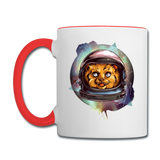 Cosmic Kitty - Contrast Coffee Mug - white/red