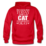 Cuddle A Cat - White - Gildan Heavy Blend Adult Hoodie - red