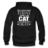 Cuddle A Cat - White - Gildan Heavy Blend Adult Hoodie - black