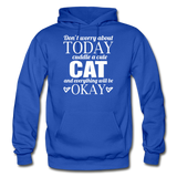 Cuddle A Cat - White - Gildan Heavy Blend Adult Hoodie - royal blue