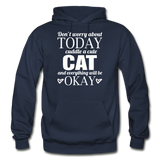 Cuddle A Cat - White - Gildan Heavy Blend Adult Hoodie - navy