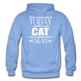 Cuddle A Cat - White - Gildan Heavy Blend Adult Hoodie - carolina blue