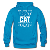 Cuddle A Cat - White - Gildan Heavy Blend Adult Hoodie - turquoise