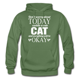 Cuddle A Cat - White - Gildan Heavy Blend Adult Hoodie - military green