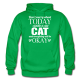 Cuddle A Cat - White - Gildan Heavy Blend Adult Hoodie - kelly green