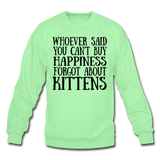 Can't Buy Happiness - Kittens - Black - Crewneck Sweatshirt - lime