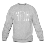 Meow - White - Crewneck Sweatshirt - heather gray