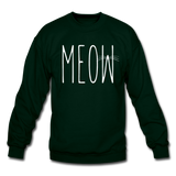 Meow - White - Crewneck Sweatshirt - forest green