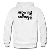 Meow's It Going - Black - Gildan Heavy Blend Adult Hoodie - white