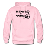 Meow's It Going - Black - Gildan Heavy Blend Adult Hoodie - light pink