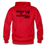 Meow's It Going - Black - Gildan Heavy Blend Adult Hoodie - red