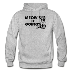 Meow's It Going - Black - Gildan Heavy Blend Adult Hoodie - heather gray
