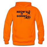Meow's It Going - Black - Gildan Heavy Blend Adult Hoodie - orange