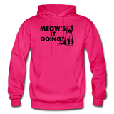 Meow's It Going - Black - Gildan Heavy Blend Adult Hoodie - fuchsia