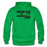 Meow's It Going - Black - Gildan Heavy Blend Adult Hoodie - kelly green