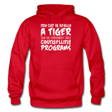 My Cat Is Really A Tiger - White - Gildan Heavy Blend Adult Hoodie - red